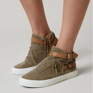 Women Vulcanize Sneakers Comfort Canvas Outdoor  Belt Flat Casual  Fashion Retro Sneakers Plus Size