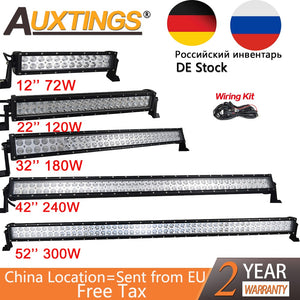 Auxtings Dual Row 12V Straight Led Work Light Bar 14 20 32 42 52'' Inch 240W 300W Offroad Car Led Light Bar Combo 4x4 SUV ATV
