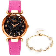 Load image into Gallery viewer, Exquisite Luxury Women Watches Fashion Dress Ladies Watch elegant Starry Sky Dial Leather Strap Quartz Wristwatch Clock Women