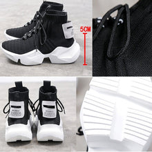 Load image into Gallery viewer, High-top Platform Sneakers Women Knitted Casual  Woman White Black Sneakers Air Mesh Chunky Trainers