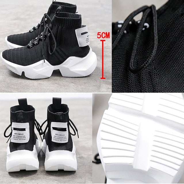 High-top Platform Sneakers Women Knitted Casual  Woman White Black Sneakers Air Mesh Chunky Trainers