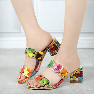 2019  Women Multi Colors Sandals Fashion High Heels Open Toe  Shoes