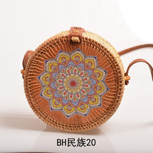 Load image into Gallery viewer, Woven Rattan Bag Round Straw Shoulder Bag  Handmade Messenger Crossbody Bags
