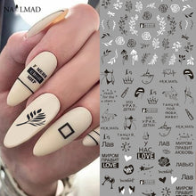 Load image into Gallery viewer, 12Patterns Leaves Nail Water Decals With Inscriptions Butterfly Transfer