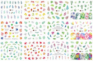 12Patterns Leaves Nail Water Decals With Inscriptions Butterfly Transfer