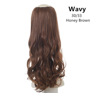 "24""  U-Part Clip in Hair Extension Straight & Wavy One Piece Head Long Natural Hairpieces"