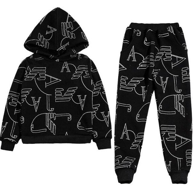 2018 New fall winter Lovely Causal Toddler Baby Boys Clothes Sets 2PCS 10Year Long Sleeve Cartoon Sweatshirt Tops+ Pants Outfit