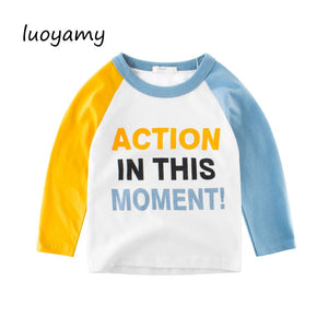 Letter Baby Boys Long Sleeve T Shirts 2 to 9 Years Fall Children