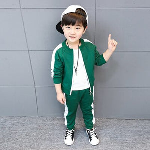 Hot 2018 Little Kids Clothing Set 3 Pcs Spring Fall Baby Boys Sports Suit Clothes Children's Casual Jacket + T-Shirt + Pants X80
