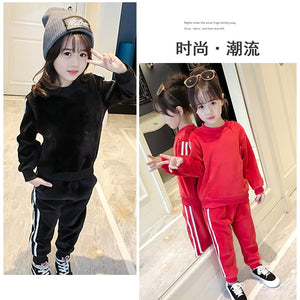 2017 Boys Girls Fall Winter Casual Clothing Set Children Kids Velvet Sweaters Pants 2pcs Suits Kids Girl Boy Tracksuit