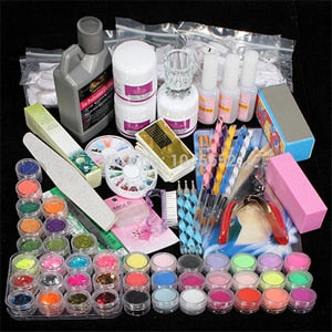 Professional 42 Acrylic Liquid Powder Glitter Clipper Primer File Nail Art Tips