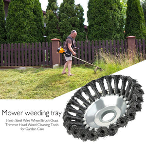 Multifunctional 6 Inch Steel Wire Wheel Brush Grass Trimmer Head Weed Cleaning