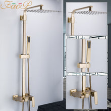 Load image into Gallery viewer, FAOP Shower system gold bathroom shower sets brass waterfall shower heads faucet for bathroom mixer luxury rainfall faucets