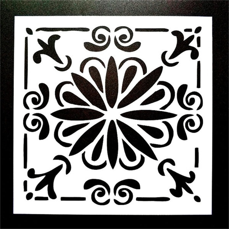 DIY Painting 15*15cm Vintage pattern Stencil Template For Tile Floor Furniture Fabric Painting Decorative