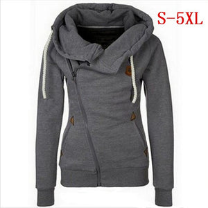 Plus Size 5XL  Women Long Sleeve Hoodies Jackets Zipper Jumper Overcoat Outwear Harajuku