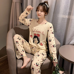 M-5XL Women Pajama Set Cotton Striped Cartoon Monkey Animal Sleepwear Pajamas Long-sleeve