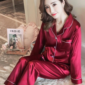 Women's Sleepwear Pocket Decor Silk Pajamas  Turn-down Collar Satin Pajamas Sets