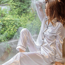 Load image into Gallery viewer, Women's Sleepwear Pocket Decor Silk Pajamas  Turn-down Collar Satin Pajamas Sets
