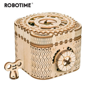 Robotime 123pcs Creative DIY 3D Treasure Box Wooden Puzzle Game Assembly Toy Gift