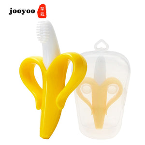 Baby Silicone Banana Training Toothbrush BPA Shape Safe Chew Toys Teething Ring