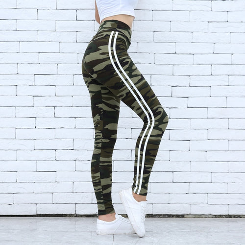 Women Camo Legging Two Side White Stripes Skinny Leggings Elastic