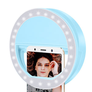 1PCs Ring Lights LED Circle Light Cell Phone Laptop Camera Photography Video Night Light Clip On Rechargeable Photo Lamp