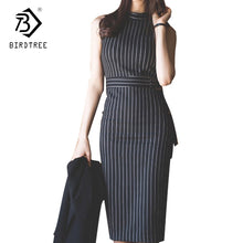 Load image into Gallery viewer, Autum Women Elegant Straigt  Sleeveless Sashes Pullover Pinstripe Dresses