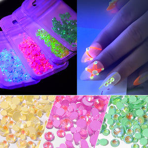 1pack Luminous Crystal Mixed Size SS6-SS20 Nail Art Rhinestone Decorations 3D