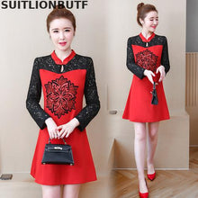 Load image into Gallery viewer, National Style Lace Long Sleeve Stitching Cheongsam Dress Flower Print High Waist Slim