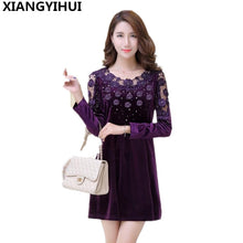 Load image into Gallery viewer, Corduroy Middle Aged Women Dress Embroidery Flower