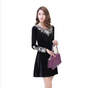 Corduroy Middle Aged Women Dress Embroidery Flower