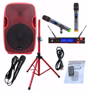 "SSRM-15 15"" 3500W PA DJ Stage Power Active BT Speaker W/ Stand 2CH UHF Mic System"