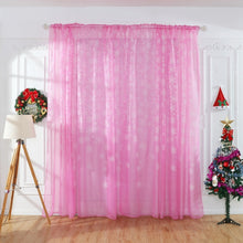 Load image into Gallery viewer, White Flowers Printed Snowflake Transparent Curtain Home Window Decorative Drapery, Through Rod to Install