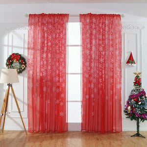 White Flowers Printed Snowflake Transparent Curtain Home Window Decorative Drapery, Through Rod to Install