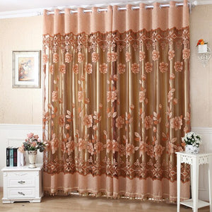 Edal Floral Peony Pattern Tulle Living Room Drapery Valances Window Practical