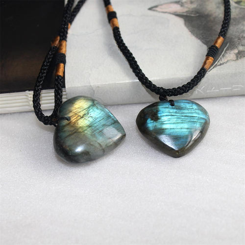 1Pcs Natural Heart Pattern Pendant Labradorite Necklace Gem Moonstone Crafts Stone Hanging Ornament For Women Gifts