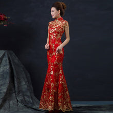 Load image into Gallery viewer, Red Chinese Wedding Dress Female Long Short Sleeve Cheongsam Gold Slim Chinese Traditional Dress Women Qipao for Wedding Party