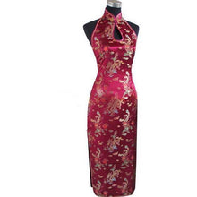 Load image into Gallery viewer, Sexy Burgundy Backless Traditional Chinese Dress Long Halter Cheongsam Qipao Novelty Dripping Costume S M L XL XXL XXXL WC025