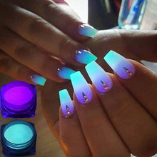 Load image into Gallery viewer, 1 Box Neon Phosphor Powder Nail Glitter Powder 10 Colors Dust Luminous Pigment