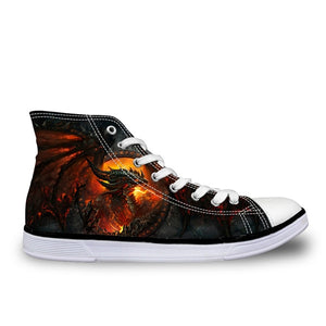 Cool Punk Skull Printed Men's High-top Canvas  Breathable Casual Lace-up Vulcanized Sneakers