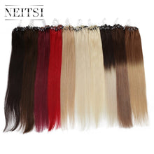 "Load image into Gallery viewer, Neitsi Straight Loop Micro Ring Hair 100% Human Micro Bead Links Machine Made Remy Hair Extension 16"" 20"" 24"" 1g/s 50g 20 Colors"