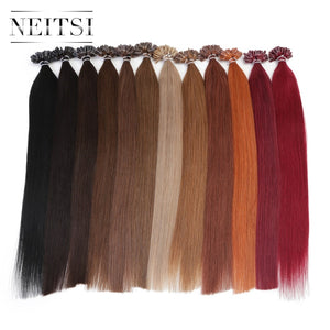 "Neitsi Straight Keratin Capsules Human Fusion Hair Nail U Tip Machine Made Remy Pre Bonded Hair Extension 16"" 20"" 24"" 1g/s 50g"