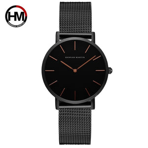 Japan Quartz Movement High Quality 36mm hannah Martin Women Stainless Steel Mesh Rose Gold Waterproof Ladies Watch