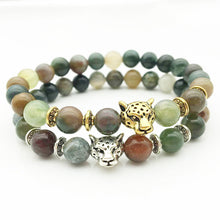 Load image into Gallery viewer, Indian Agate Tourmaline Crystal Bracelet Buddha Beads Natural Stone Made Tibetan Gold Silver Leopard
