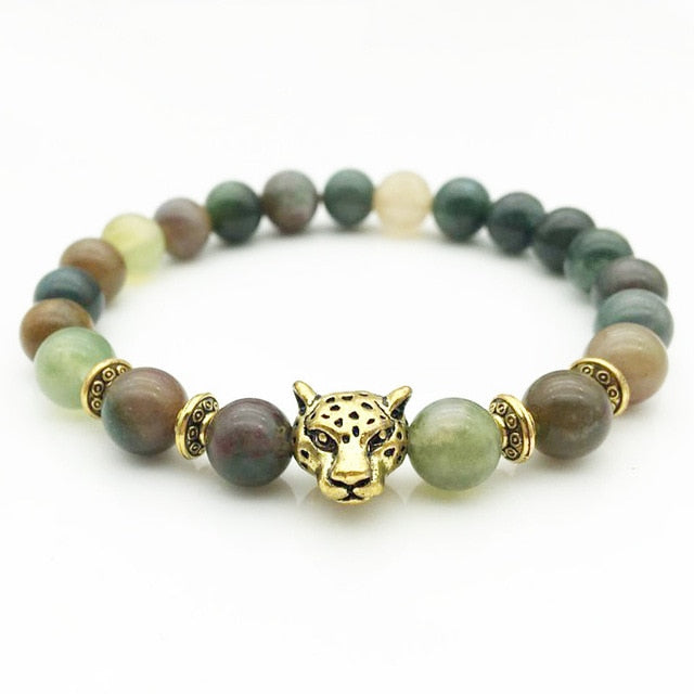 Indian Agate Tourmaline Crystal Bracelet Buddha Beads Natural Stone Made Tibetan Gold Silver Leopard