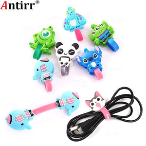 Cartoon Charger USB Cable Bobbin Winder Data line Protector Earphone Wire Cord Organizer