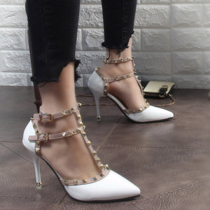 Sexy Hasp Rivet Heels Female leather  pumps Stiletto