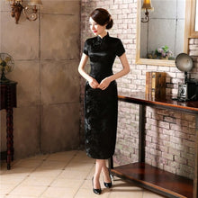 Load image into Gallery viewer, Chinese Traditional Cheongsam Women Silk Satin Plum Blossom Long Dress  Size: S to 6XL