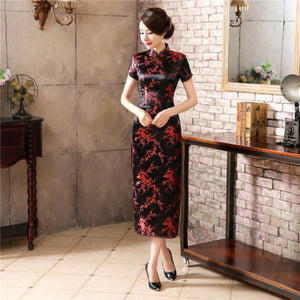 Chinese Traditional Cheongsam Women Silk Satin Plum Blossom Long Dress  Size: S to 6XL
