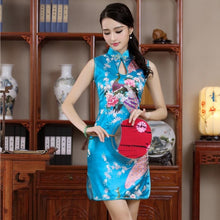 Load image into Gallery viewer, New Satin Women's Sleeveless Sexy  Qipao Dress Chinese Style Mandarin Collar Formal Short  Flower Cheongsam  M L XL XXL JY055